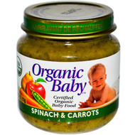 Organic Baby, Certified Organic Baby Food, Spinach & Carrots, 4 oz (113 g) (5 PACK)