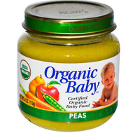 Organic Baby, Certified Organic Baby Food, Peas, 4 oz (113 g) (5 PACK)