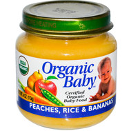 Organic Baby, Certified Organic Baby Food, Peaches, Rice & Bananas, 4 oz (113 g) (5 PACK)