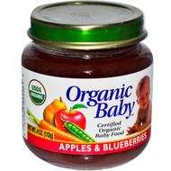Organic Baby, Certified Organic Baby Food, Apples & Blueberries, 4 oz (113 g) (5 PACK)