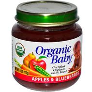 Organic Baby, Certified Organic Baby Food, Apples & Blueberries, 4 oz (113 g) (5 PACK)