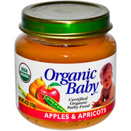Organic Baby, Certified Organic Baby Food, Apples & Apricots, 4 oz (113 g) (5 PACK)