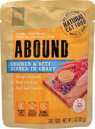 3 Pack of Abound Adult Cat & Kitten Food Pouch Chicken & Beef Dinner in Gravy - 3 oz