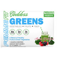 3 PACK OF FEMME, Goddess Greens, Acai + Spirulina + Chlorella Super Food Mix, Berry Delicious, 0.35 oz (10 g)