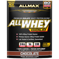 3 PACK OF ALLMAX Nutrition, AllWhey Gold, 100% Whey Protein + Premium Whey Protein Isolate, Chocolate, 1.06 oz (30 g)