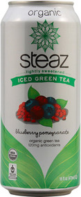 Steaz Green Tea Soda, Organic Iced Green Tea,  Blueberry Pomegranate - 16 fl oz (5 PACK)