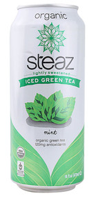 Steaz Green Tea Soda, Organic Iced Green Tea,  Mint - 16 fl oz (5 PACK)