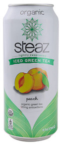 Steaz Green Tea Soda, Organic Iced Green Tea,  Peach - 16 fl oz (5 PACK)