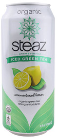 Steaz Green Tea Soda, Organic Iced Green Tea,  Unsweetened with Lemon - 16 fl oz (5 PACK)