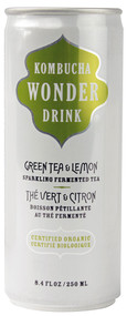 Kombucha Wonder Drink, Organic Sparkling Fermented Tea,  Green Tea & Lemon - 8.4 fl oz -5 PACK