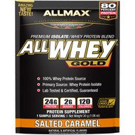 3 PACK OF ALLMAX Nutrition, AllWhey Gold, 100% Whey Protein + Premium Whey Protein Isolate, Salted Caramel, 1.06 oz (30 g)