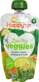 5 PACK of Happy Baby Happy Tot Love My Veggies Stage 4 Organic Toddler Food Zucchini Pears Chickpeas & Kale - 4.22 oz