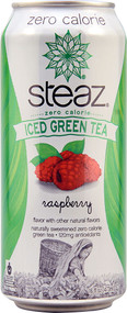 Steaz Green Tea Soda, Zero Calorie Iced Green Tea, Raspberry - 16 fl oz (5 PACK)