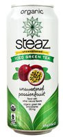 Steaz Green Tea Soda Organic Iced Green Tea Unsweetened Passionfruit - 16 fl oz (5 PACK)