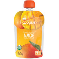 3 PACK OF Happy Family Organics, Organic Baby Food, Stage 1, Clearly Crafted, Mangos, 4 + Months, 3.5 oz (99 g)