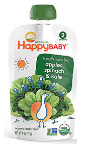 5 PACK of Happy Baby Simple Combos Stage 2 Organic Baby Food Spinach Apples & Kale - 4 oz