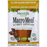 5 PACK of Macrolife Naturals, Macromeal Ultimate Superfood, Chocolate Protein + Superfoods, 1.6 oz (45 g)