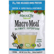 Macrolife Naturals, Macromeal Ultimate Superfood, Vanilla Protein + Superfoods, 1.4 oz (40 g)