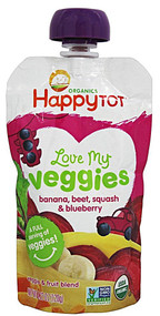5 PACK of Happy Baby Happy Tot Love My Veggies Stage 4 Organic Toddler Food  Banana Beet Squash & Blueberry - 4.22 oz