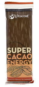5 PACK of Vitacost Super Cacao Energy Bar With Roasted Peanut, Caramel & Bioenergy Ribose - 1 oz (28 g)