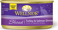 3 PACK of Wellness Canned Cat Food Grain Free Sliced Turkey Salmon -- 5.5 oz