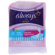 Always, Thin Active Dailies, Regular, Clean Scent, 20 Liners