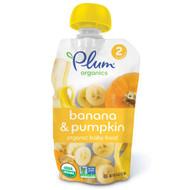 3 PACK of Plum Organics, Organic Baby Food, Stage 2, Banana & Pumpkin, 4 oz (113 g)