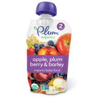 Plum Organics, Organic Baby Food, Stage 2, Apple, Plum Berry & Barley, 3.5 oz (99 g)
