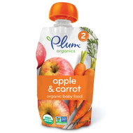 3 PACK of Plum Organics, Organic Baby Food, Stage 2, Apple & Carrot, 4 oz (113 g)