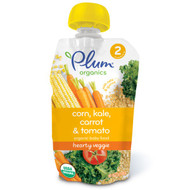 3 PACK of Plum Organics, Organic Baby Food, Stage 2, Hearty Veggie, Corn, Kale, Carrot & Tomato, 3.5 oz (99 g)
