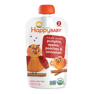 3 PACK OF Happy Family Organics, Organic Baby Food, Pumpkin, Apples, Peaches & Cinnammon, Stage 2, 6+ Months, 4oz (113 g)