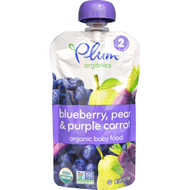 3 PACK of Plum Organics, Organic Baby Food, Stage 2, Pear, Purple Carrot & Blueberry, 4 oz (113 g)