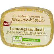3 PACK of Clearly Natural, Essentials, Pure and Natural Glycerine Soap, Lemongrass Basil, 4 oz (113 g)