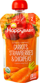 5 PACK of Happy Baby Clrealy Crafted Stage 2 Organic Baby Food Carrots Strawberries & Chickpeas - 4 oz