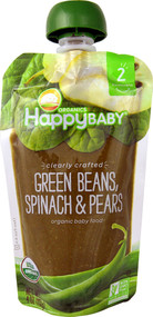 5 PACK of Happy Baby Clearly Crafted Stage 2 Organic Baby Food Green Beans Spinach & Pears - 4 oz