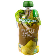 3 PACK OF Happy Family Organics, Organic Baby Food, Stage 2, Clearly Crafted, 6+ Months, Pears, Kale & Spinach, 4.0 oz (113 g)
