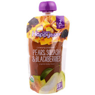 3 PACK OF Happy Family Organics, Organic Baby Food, Stage 2, Clearly Crafted, Pears, Squash & Blackberries, 6+ Months, 4.0 oz (113 g)