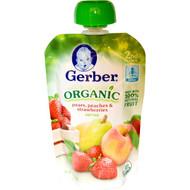3 PACK of Gerber, 2nd Foods, Organic Baby Food, Pears, Peaches & Strawberries, 3.5 oz (99 g)