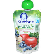 3 PACK of Gerber, 2nd Foods, Organic Baby Food, Apples, Blueberries & Spinach, 3.5 oz (99 g)