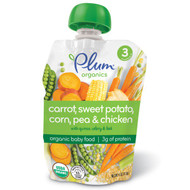 3 PACK of Plum Organics, Organic Baby Food, Stage 3, Carrot, Sweet Potato, Corn, Pea & Chicken, 4 oz (113 g)