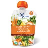 3 PACK of Plum Organics, Organic Baby Food, Stage 3, Carrot, Spinach, Turkey, Corn, Apple & Potato, 4 oz (113 g)