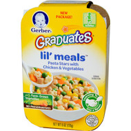 3 PACK of Gerber, Graduates for Toddlers, Lil Meals, Pasta Stars with Chicken & Vegetables, 6 oz (170 g)