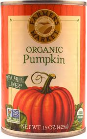 3 PACK of Farmers Market Organic Canned Pumpkin -- 15 oz