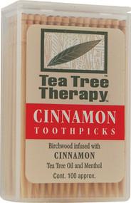 3 PACK of Tea Tree Therapy Toothpicks Cinnamon -- 100 Toothpicks