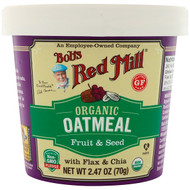 3 PACK OF Bobs Red Mill, Organic Oatmeal Cup, Fruit & Seed with Flax & Chia, 2.47 (70 g)