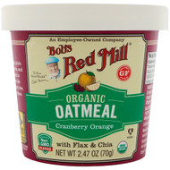 3 PACK OF Bobs Red Mill, Organic Oatmeal Cup, Cranberry Orange with Flax & Chia, 2.47 oz (70 g)