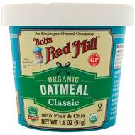 3 PACK OF Bobs Red Mill, Organic Oatmeal Cup, Classic with Flax & Chia, 1.8 oz (51 g)
