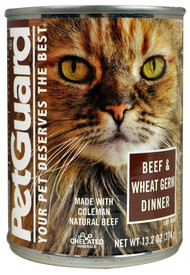 PetGuard, Canned Cat Food,  Beef and Wheat Germ Dinner - 13.2 oz -5 PACK