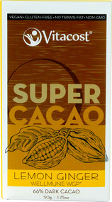 Vitaco, Super Cacao Lemon Ginger with Wellmune WGP(R) - 66% Dark Cacao - 1.75 oz