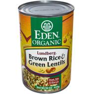 Eden Foods, Organic, Lundberg, Brown Rice & Green Lentils, 15 oz (425 g) (5 PACK)